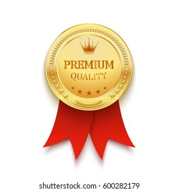 Premium quality golden label with red ribbon
