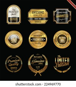 Premium quality golden labels and badges
