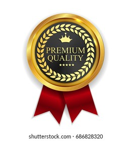 Premium Quality Golden Medal Icon Seal  Sign Isolated on White Background. Vector Illustration EPS10
