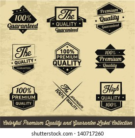 Premium Quality and Guarantee Label Collection in Retro Style
