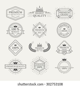 Premium Quality Guarantee Labels and Badges, Linear Design Style