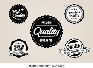 Premium Quality & Guarantee Labels - retro style design