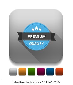 Premium Quality guarantee With long shadow over app button