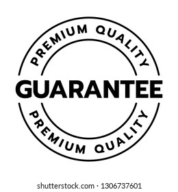 Premium quality guarantee word on circle badge vector. Minimalist style, simple design, black and white color.