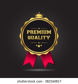 Premium quality guaranteed golden label with crown and ribbon. isolated on black background vector illustration