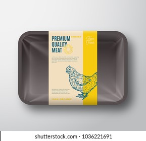Premium Quality Hen Pack. Abstract Vector Poultry Plastic Tray Container with Cellophane Cover. Packaging Design Label. Modern Typography and Hand Drawn Chicken Silhouette Background Layout. Isolated.