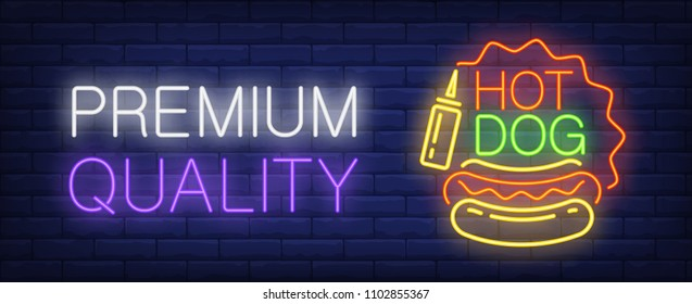 Premium quality hotdog neon sign. Sausage, bun and mustard. Vector illustration in neon style for fast food cafe or street food signboard