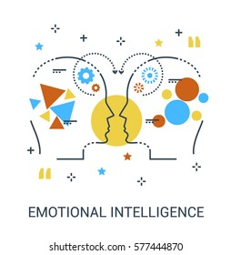 Premium quality icon concept of emotional intelligence, communication skills, reasoning, persuasion, mentoring or intuition. Flat infographic thin line icon design.