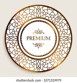 Premium quality label with gold border pattern, ornamental vector sticker, golden round frame with filigree pattern, eps10