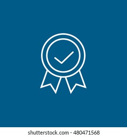 Premium Quality Label Line Icon On Blue Background