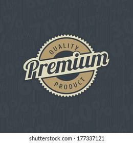 Premium quality label on seamless sale background