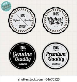 Premium Quality Labels  with clean retro vintage design