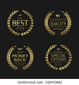 Premium quality labels. Golden laurel wreaths, Best offer Premium quality Money back Special offers