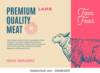 Premium Quality Lamb. Abstract Vector Meat Packaging Design or Label. Modern Typography and Hand Drawn Sheep Silhouette Background Layout.