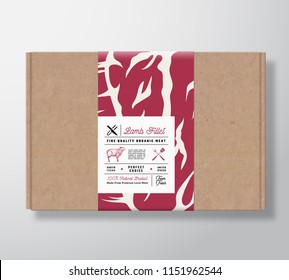 Premium Quality Lamb Fillet Craft Cardboard Box. Abstract Vector Meat Paper Container with Label Cover. Packaging Design. Modern Typography and Hand Drawn Sheep Silhouette Background Layout. Isolated.