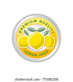 Premium quality lemon juice badge with three lemons placed on white background