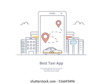 Premium Quality Line Hand Drawn Icon And Concept Set: Mobile app for ordering taxi, Mobile phone with street map and location pointer, Mobile city