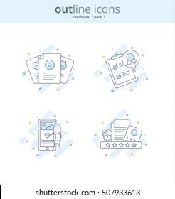 Premium Quality Line Icon And Concept Set: Management, Content, Feedback, Review, Emotion. Line vector logo concept.