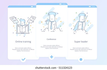 Premium Quality Line Icon And Concept Set Onboarding: Conference, Online training, Super leader, Businessman