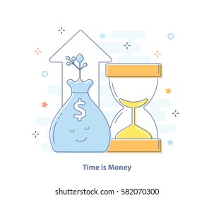 Premium Quality Line Icon And Concept of Compound Interest, Time is Money. Bag of money and hourglass. Flat line vector illustration.