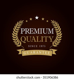 Premium quality logotype with palms. Isolated vector abstract awards emblem. Luxurious congratulating template framed palms, celebrate. Celebrating decorative traditional greetings, branches, stars.