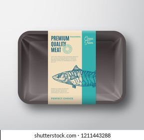 Premium Quality Mackerel Pack. Abstract Vector Fish Plastic Tray Container with Cellophane Cover. Package Design Label. Modern Typography and Hand Drawn Mackerel Silhouette Background Layout. Isolated