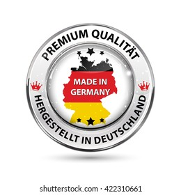 Premium Quality. Made in Germany ( text in German language) - shiny icon / badge / label with map and Flag colors