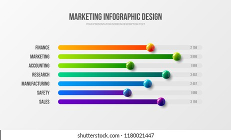 Premium quality marketing analytics bar chart presentation vector illustration template. Business data visualization design layout. Amazing corporate statistics information line graph infographic.