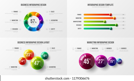 Premium quality marketing analytics presentation vector illustration template bundle. Business data visualization creative design layout. Amazing corporate statistics information infographic set.