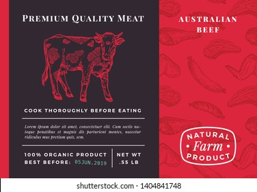 Premium Quality Meat Abstract Vector Beef Packaging Design or Label. Modern Typography and Hand Drawn Cow Sketch Background Layout. Seamless Food Pattern of Steak, Sausage and Wings.