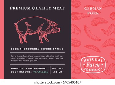 Premium Quality Meat Abstract Vector Pork Packaging Design or Label. Modern Typography and Hand Drawn Pig Sketch Background Layout. Seamless Food Pattern of Steak, Sausage and Wings.