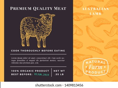 Premium Quality Meat Abstract Vector Lamb Packaging Design or Label. Modern Typography and Hand Drawn Sheep Sketch Background Layout. Food Pattern of Steak, Sausage and Wings.