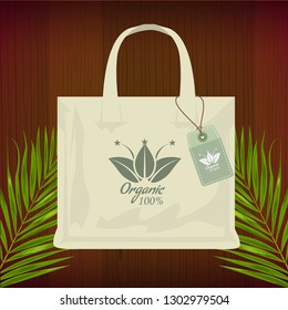 Premium quality organic bag mockup for shopping. Vector Illustration.