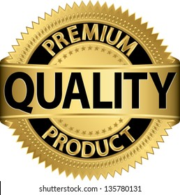 Premium quality product golden label, vector illustration