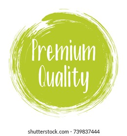 Premium quality products icon, goods package label vector design. High quality goods, food or clothing logo, premium class products sign, round stamp clip art, circle tag label, sticker, emblem.