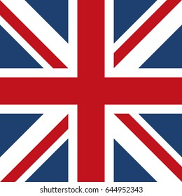 Premium quality quadrangle british flag vector design illustration concept.  United Kingdom of Great Britain and Northern Ireland national symbolics emblem. Modern union jack icon. UK style banner.