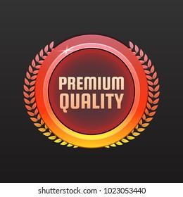 Premium quality quarantee badge, stamp, sticker. 100% hardened steel circle vector sign or medal