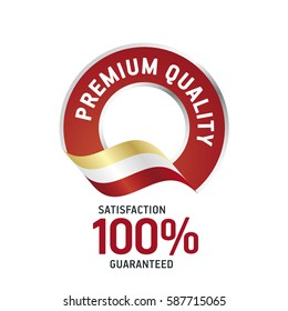 Premium Quality red ribbon label logo icon