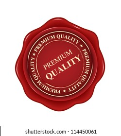 premium quality red wax seal isolated on white background