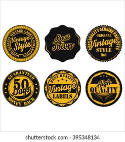 Premium Quality retro badges collection black and yellow set