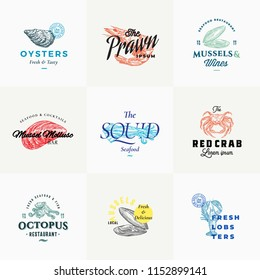 Premium Quality Retro Seafood Vector Signs or Logo Templates Set. Hand Drawn Vintage Sketches with Classy Typography, Shrimp, Oyster, Squid, Octopus, etc. Great Restaurant and Cafe Emblems. Isolated.