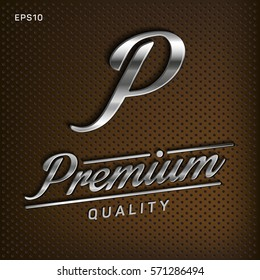 Premium, quality retro vintage sign for package design, guaranteed golden label, vector illustration, silver shine, metal