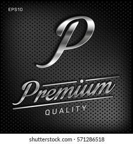 Premium, quality retro vintage sign for package design, guaranteed golden label, vector illustration, silver shine, metal