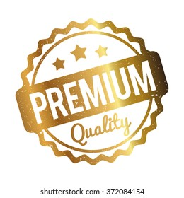 Premium Quality rubber stamp gold on a white background.