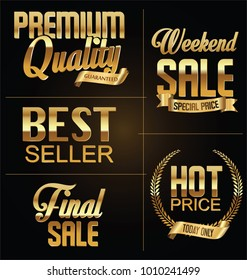 Premium quality and sale golden retro sign collection
