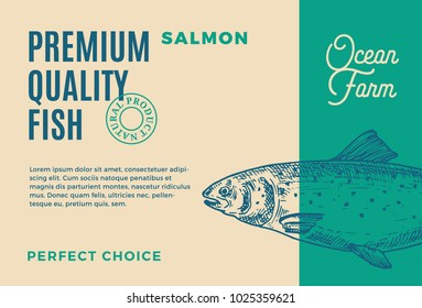 Premium Quality Salmon. Abstract Vector Fish Packaging Design or Label. Modern Typography and Hand Drawn Salmon Silhouette Background Layout.