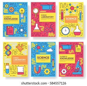 Premium quality scientific  vector brochure cards thin line set. thinking the idea linear template of flyear, magazines, posters, book cover, banners. Layout research equipmen outline modern pages