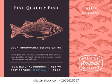 Premium Quality Seabass Abstract Vector Packaging Design or Label. Modern Typography and Hand Drawn Sketch Fish Pattern Background Seafood Layout.
