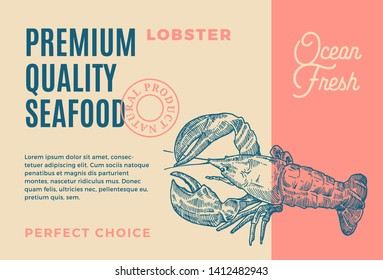 Premium Quality Seafood. Abstract Vector Packaging Design or Label. Modern Typography and Hand Drawn Lobster or Crayfish Silhouette Background Layout.