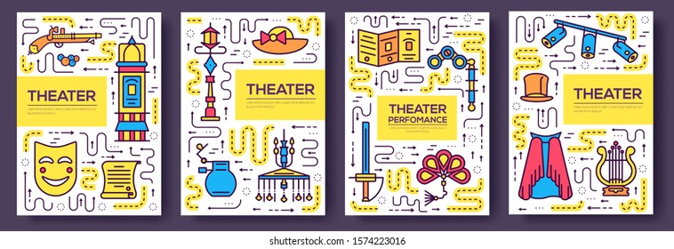 Premium quality theater vector brochure cards thin line set. Festival masquerade linear template of flyer, magazines, posters, book cover, banners. Layout equipment outline illustrations modern pages